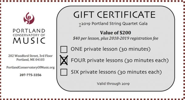 Gift Certificate sample - Portland Conservatory of Music