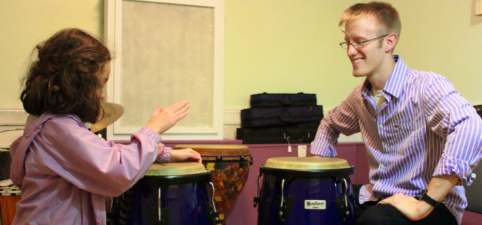 Music Teacher and Drum Student