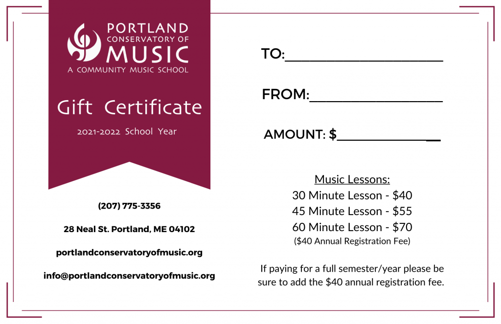 PCM Gift Certificate